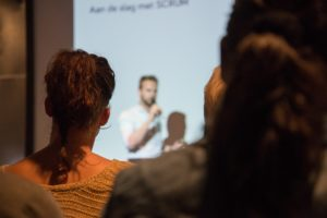Speaker presenting a presentation